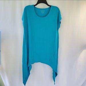 By chico's blue asymmetrical Tunic size 2 L